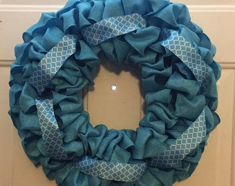 Blue spring ribbon wreath