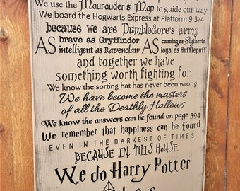"""Custom Carved Wooden Sign - """"In This House We Solemnly Swear We Are Up To No Good ... We Do Harry Potter"""" - 24""""x16"""""""