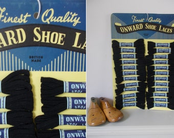Fabulous FULL card vintage ONWARD shoe laces~Two dozen pairs~Vintage advertising shop display~Sampler-like & very pleasing~Boot room?!