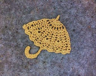 Crochet Applique Golden Umbrella Romantic Theme Scrapbooking Card Making Embellishments