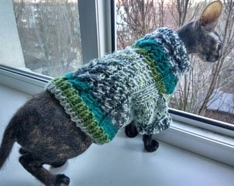 Cat dog clothes, warm cat sweater, clothes for sphynx, sweater for sphynx, Dog Jumper, Pets clothes, knitted sweater for small dogs or cats
