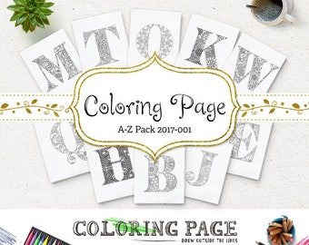 Coloring Pages Alphabets A-Z Printable Coloring Page Instant Download Printable Adult Coloring Books Printable Wall Art DIY Coloring Letters