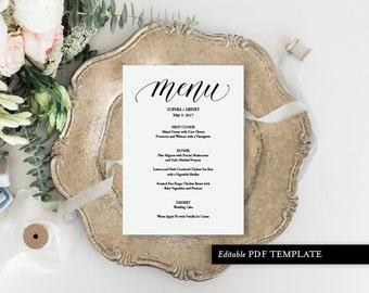 Menu Template   Menu Card   Menu   Wedding Menu PDF Template   Wedding Menu   Wedding Menu Template   Instant Download   PDF Template