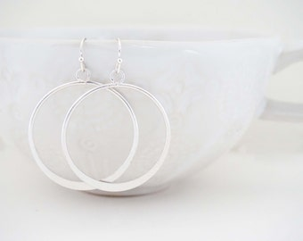 Matte Silver Circle Pendant Earrings