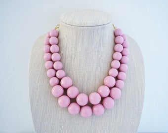 Pale Blush Pink Big Bead Statement Necklace