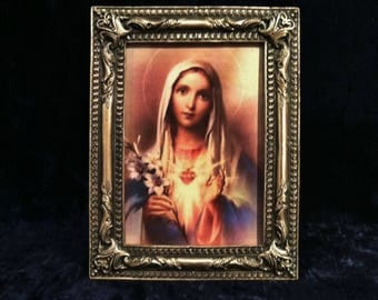 Immaculate Heart Of  Mary In Vintage Pewter Frame