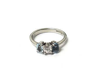 An 18k Gold Aquamarine and Diamond RIng