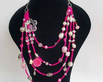 Statement Necklace - layering necklace - Pink neckart - multilayer necklaces - chunky necklace - tassel jewelry - tassel necklace - heart