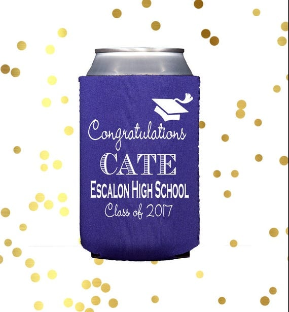 Personalized graduation can cooler, neoprene can cooler, graduation party huggie,  custom drink sleeve, personalized can cooler