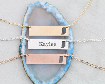 SALE • Indiana State Necklace • Indiana Jewelry • Layered Bar Necklace • Bar State Jewelry • State Pendant • Map Necklace • Engraved State