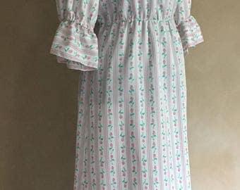 Vintage 70's Dress Rose Print