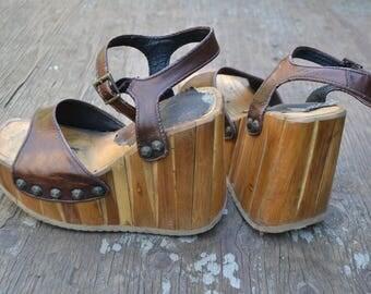 Platform shoes 5, 70 platform sandals,  bamboo platform sandals, super tall platform sandals, wood platform shoes, wooden platform sandals