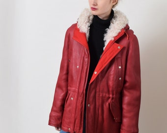 Shearling Lined Red Leather Anorak Jacket Vintage Real Leather Parka Jacket XS S M