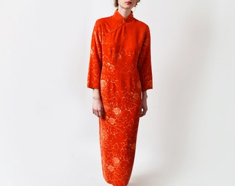 1970s Orange Burnout Velvet Cheongsam Dress 70s Vintage Mandarin Collar Chinese Dress Asian Ethnic M