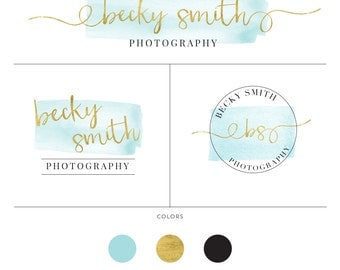 Photography branding kit marketing logo watermark for photographer modern watercolour logo fashion logo design