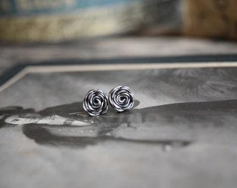 Sterling Silver Rose Earrings Serling Silver Stud Earrings Rose Bud Studs
