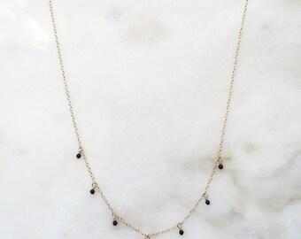 Halfway dangle gemstone necklace | Natural gemstones | 14k gold filled & sterling silver