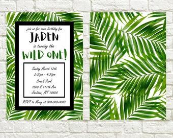 Birthday Invitation Tropical Theme Birthday Invite Green Black White Palm Trees Birthday Theme Printable Invitation