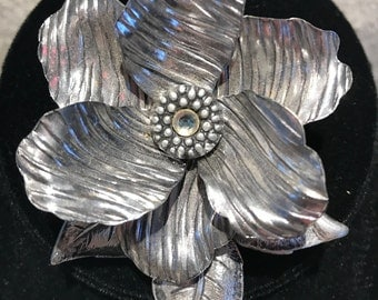 Vintage Eloxal Aluminum Flower Brooch Pin Marked Made in Germany