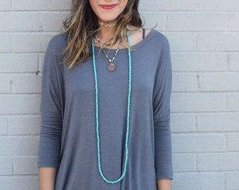 Turquoise Wrap Necklace//Blue//Knotted//boho chic//gemstones//double