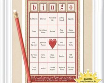 66 card Bridal Shower BINGO game with a rustic burlap texture, pre-populated cards, no DUPLICATES, diy PRINTABLE, 21BR