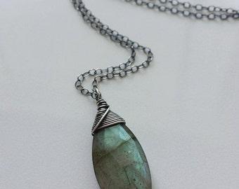 Green Labradorite Necklace, Oxidized Labradorite Necklace, Oxidized Sterling Silver Necklace, Labradorite Pendant, Oxidized Necklace