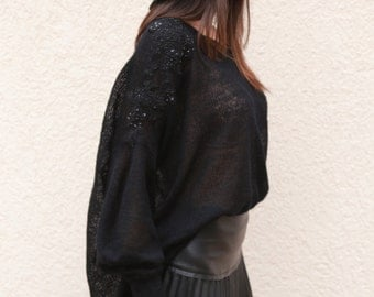 Black Asymmetrical Sweater/Cozy Pullover/ Embellished Top/Handmade Sweater with Jewels/Maxi Blouse/Over sized knit top/Handcrafted top/F1580