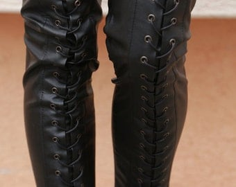 NEW/ Ties faux leather pants/ Stretch leggings/Skinny Faux Leather Pants/Black Leggings/ Effect Pants/Moto-style leather skinny pants/F1549