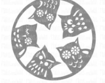 Owls peering svg/png/dxf cricut/silhouette digital cutting file/owls svg/woodland animal svg/folk style owls svg/owls watching/Owl svg/HTV
