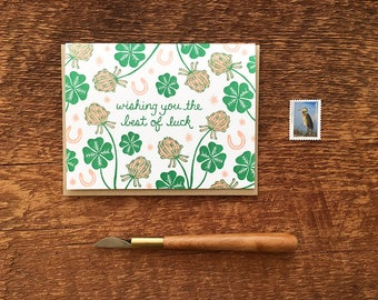 Good Luck Card, Wishing You the Best of Luck, Lucky Horseshoes, Lucky Clovers, Letterpress Note Card, Blank Inside