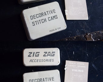 Viking Sewing Machine Parts Tin & Accessories - Zig Zag - Decorative Stitch Cams with Original Manual - Model #564