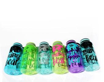 MAMA BEAR bottle - Motivational Water Bottle - daily water intake bottle - gym bottle - tribal style BPA free 34 Oz  workout waterbottle