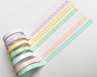 """Thin washi tapes """"good luck"""" (set of 7 rolls)"""