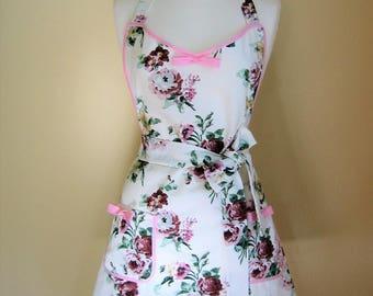 1950s Style Apron /Apron/ Retro Apron / Vintage Style Apron / Pink Floral Apron / Floral Apron /Womens Apron /Handmade Apron