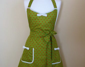 Apron/Retro Apron/Polka Dot Apron/Vintage Style Apron/1950s Style Apron/  Green Apron/ Green and Orange Apron/ Womens Apron/ Handmade Apron
