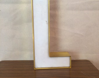 Vintage Marquee Letter - Plastic - Art Deco - Home Decor - Signage - L - Gemini inc - White - Gold - Salvage - Store Front - 1960s Look