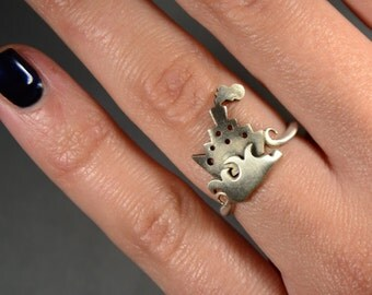Statement Sailing Boat Ring Sterling Silver 925 Nautical Everyday Jewelry Ship on The Waves Marine Theme Rings