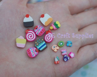 10pcs Large Thick Assorted Candy Sweet Loillpop Chocolate Cake polymer clay Slice DIY phone decor nail Art Jewelry supply finding earring