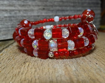 New....Red, sweet heart, polka dotted glass beaded memory wire bracelet....Be mine Valentine <3