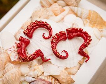 Red Kraken Tentacle fake gauge earrings