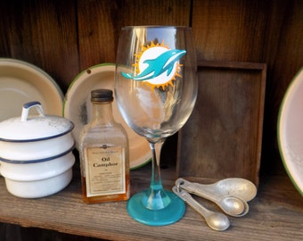 Hand Painted Miami Dolphins Wine Glass