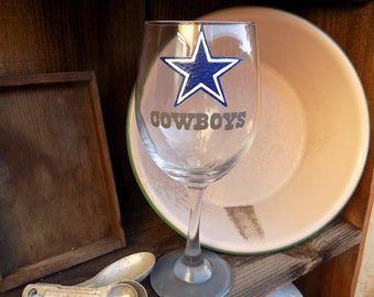 Hand Painted Dallas Cowboys Wine Glass