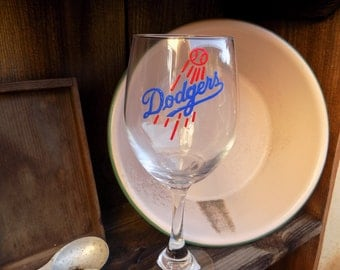 Hand Painted Los Angeles Dodgers Wine Glass