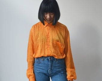 TANGERINE SHIRT -orange, yellow, golden, hipster, indie, 90s, 80s, party, night, shiny, vintage, long sleeve, aesthetic, classic, casual-