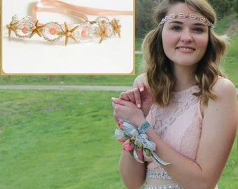 Crystal starfish headband, beach wedding hair accessory, pearl hemp headband, Pink coral -more color options, under the sea prom hair halo