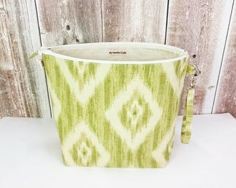 Project Bag in beige and green print, Large Zipper Wedge Bag, Sock knitting project bag, Wedge Knitting Tote, knitting bag