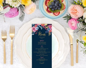 Floral Wedding Menu, Navy Gold Wedding Menu, Watercolor Brunch Menu Printable, Custom Bridal Shower Menu, Summer Wedding Menu