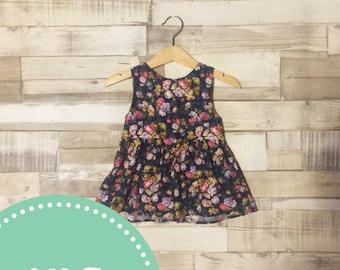 Blue Floral Dress | Baby Girls Dress | Floral Baby Dress | Navy Blue Patterned Dress | Patterned Baby Dress | Floral Print
