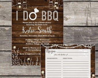 BBQ Bridal Shower Invitation and Recipe Card - I Do BBQ Bridal Shower - Rustic Bridal Shower Invitation -  Bridal-106