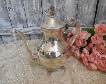 Silver Coffee Pet, Tea Pot, Antique Silver Plated Tea Pitcher, Vintage Silver Service F. B Roger 2391 Hollowware